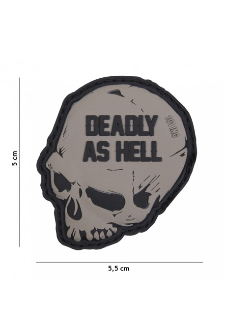 PATCH 3D PVC DEADLY AS HELL GRIS