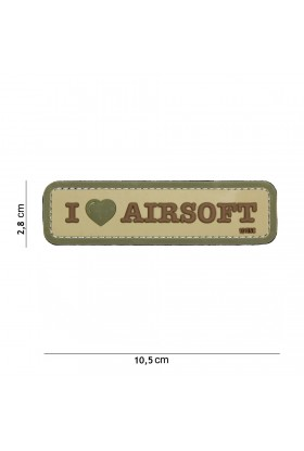 PATCH 3D I LOVE AIRSOFT COYOTE