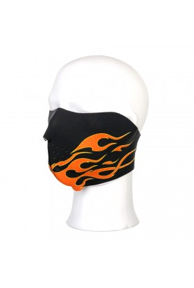 Demi-masque motard flammes orange