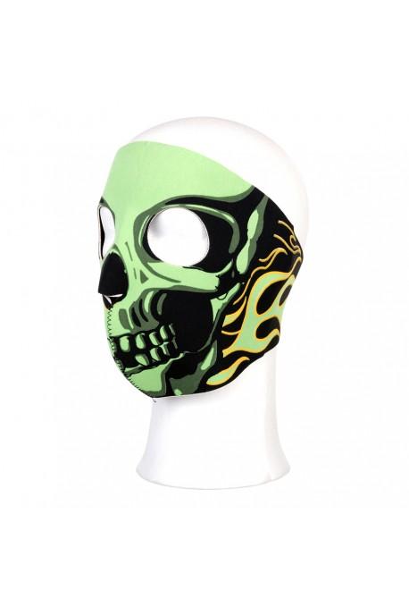 Biker mask complet crâne et flammes vertes