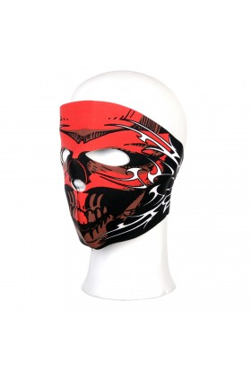 Biker mask complet crâne rouge lignes blanches