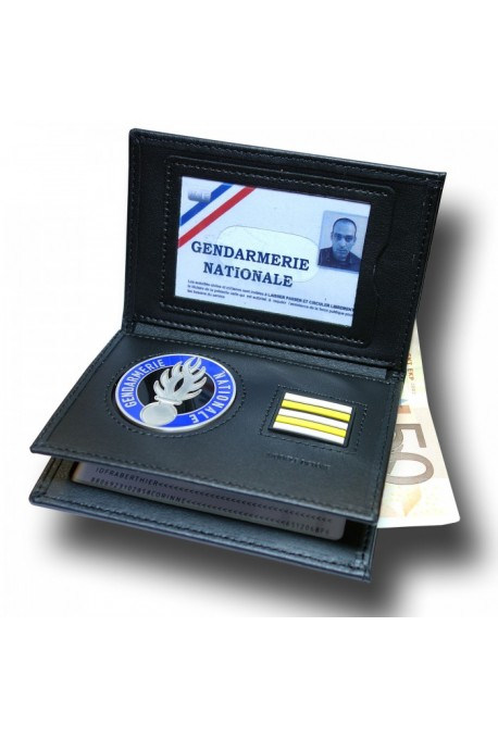 Porte Carte 3 volets, médaille Gendarmerie + Grade