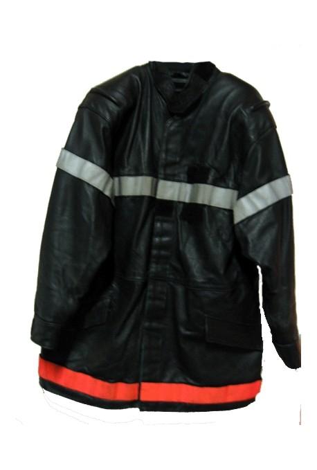 Veste cuir pompier bande fluo