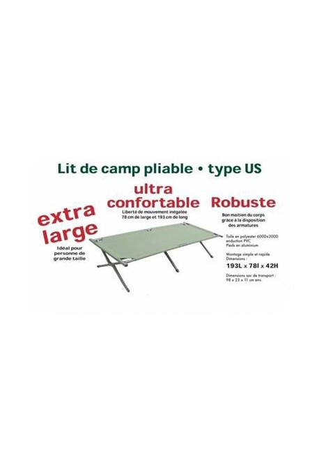 lit de camp alu extra large