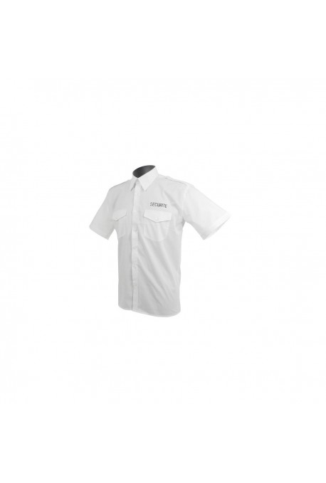 CHEMISE PILOTE BLANCHE MANCHES COURTE BRODEE SECURITE
