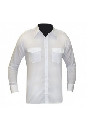 CHEMISE PILOTE BLANCHE MANCHES LONGUE
