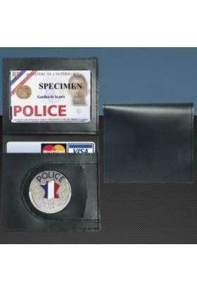 Porte-carte format CB Médaille Police + Portefeuille