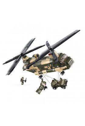 Hélicoptère CH-47 CHINOOK + Jeep M38-B0508 SLUBAN