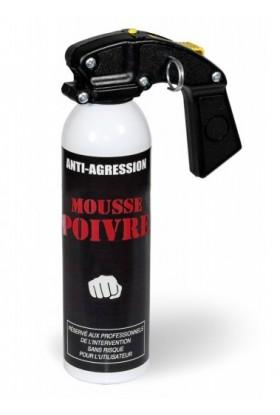Aérosol lacrymogène anti-agression Mousse poivre 500ml